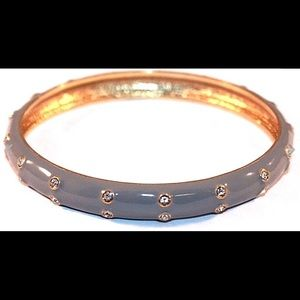 J. CREW Grey Enamel And Rhinestone Bangle Bracelet